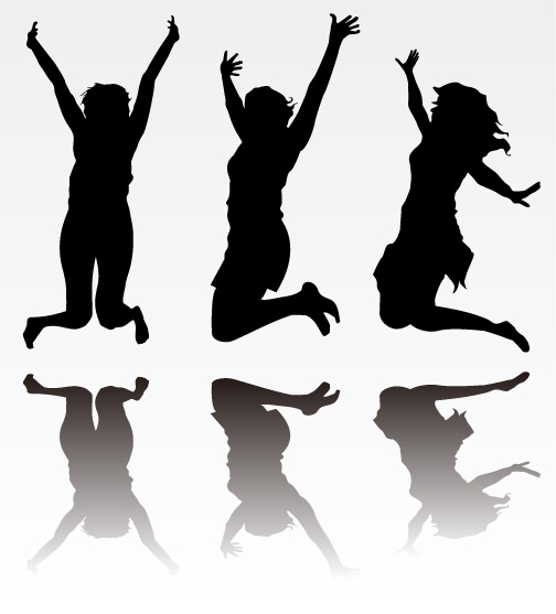 free vector People beat silhouette vector material