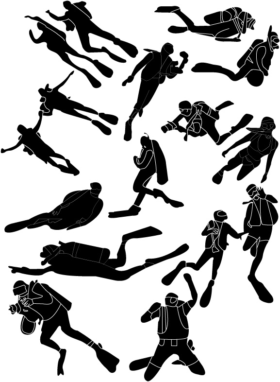 free vector People silhouettes vector material diving