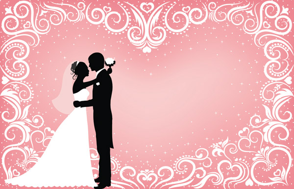 People Wedding Silhouette Vector Free