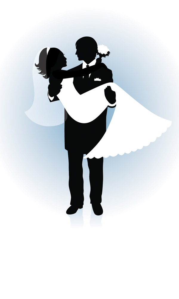 free vector People wedding silhouette vector