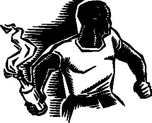 free vector Person With Molotov Cocktail clip art