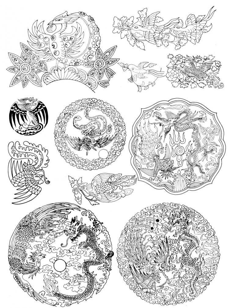 free vector Phoenix pattern vector artwork 5