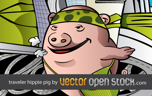 free vector Pig hippie traveling the world