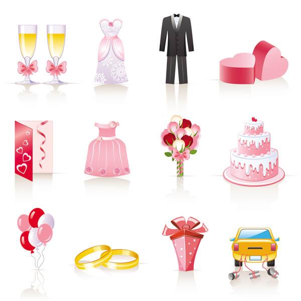 free vector Pink cartoon wedding jewelry vector