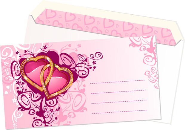 free vector Pink heart-shaped pattern envelope vector material