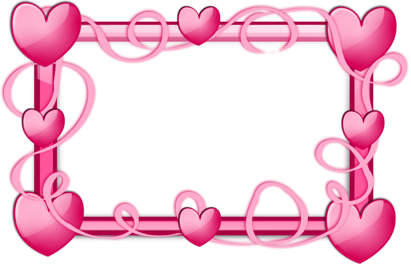 Pink Hearts Frame Free Vector / 4Vector
