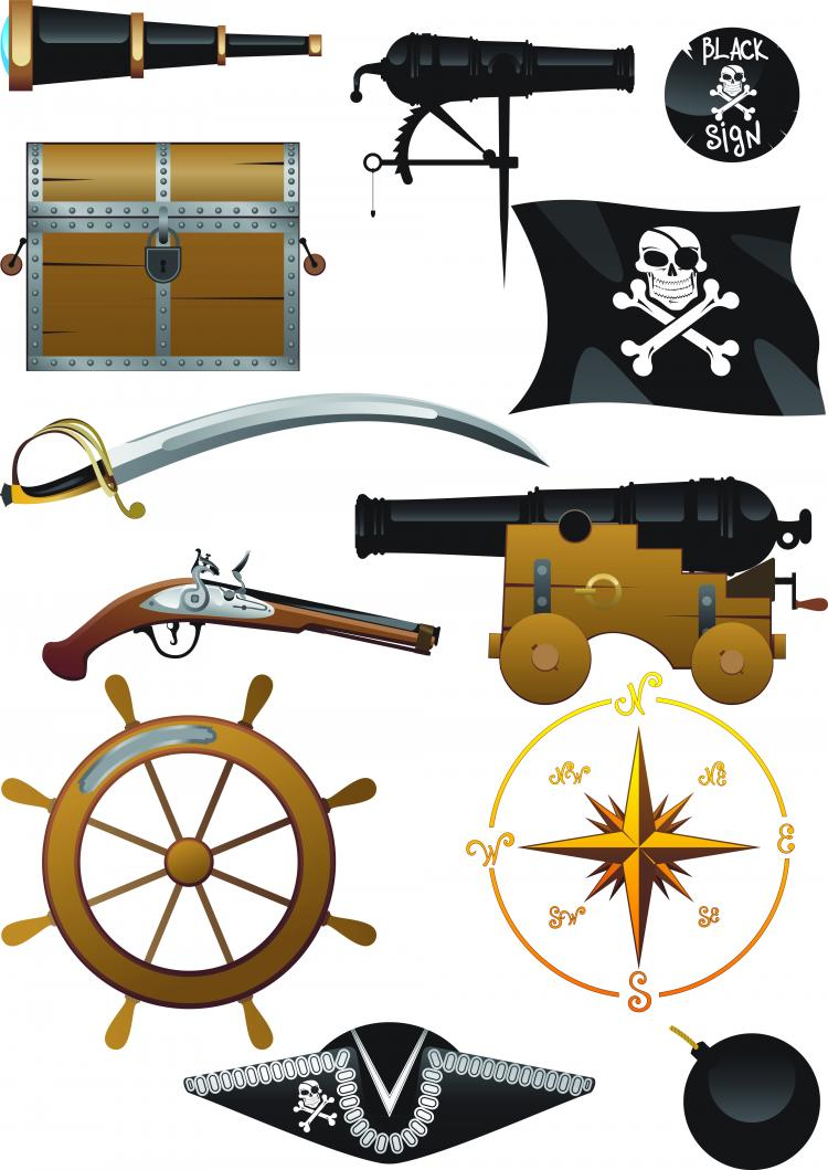 free vector Pirates clip art equipment and supplies