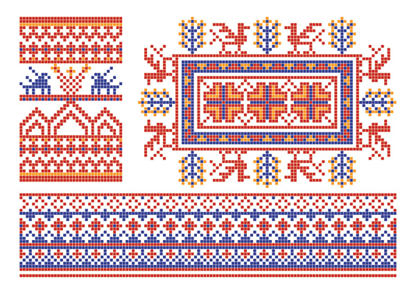 free vector Pixel border style pattern vector