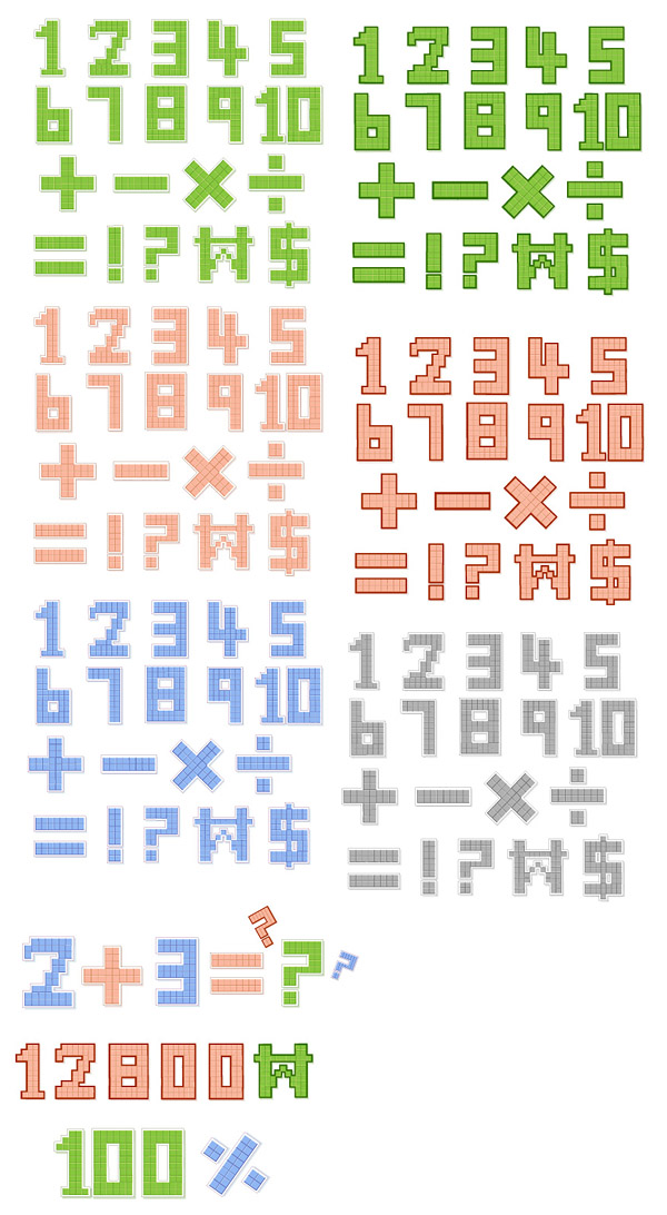 free vector Pixelstyle letters and numbers vector