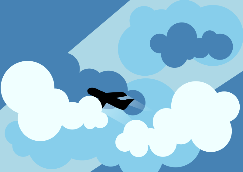 free vector Plane silhouette flying through clouds