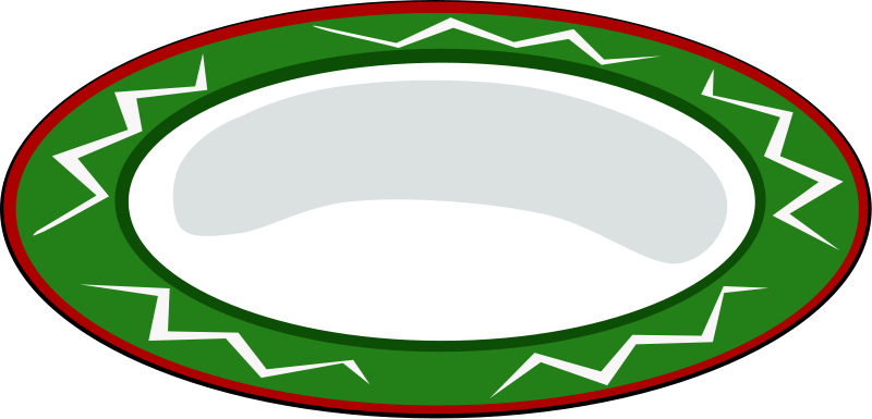 free vector Plate, green with red trim