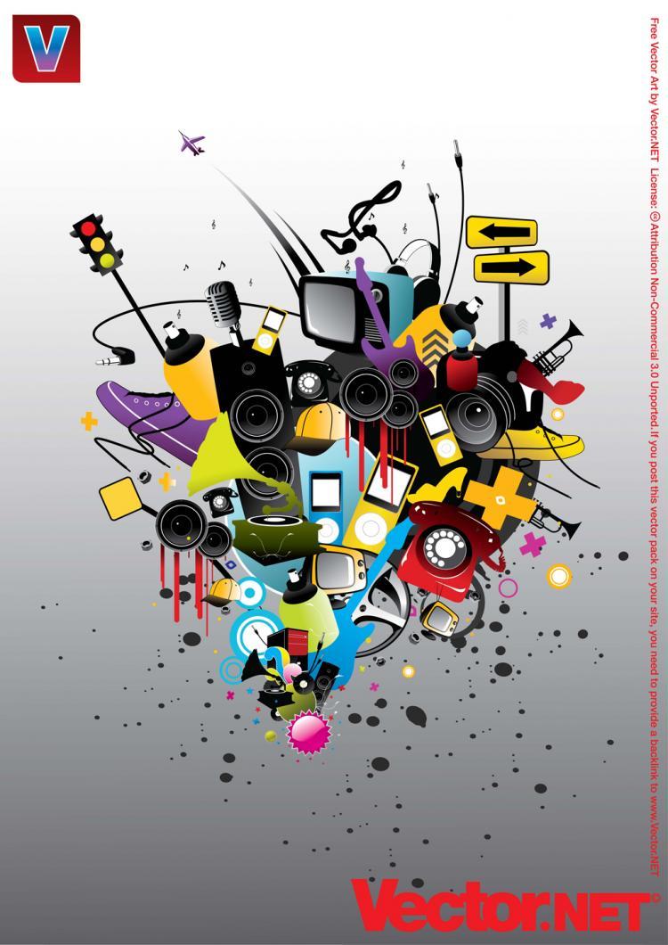 free vector Playful Music Vector Art Elements