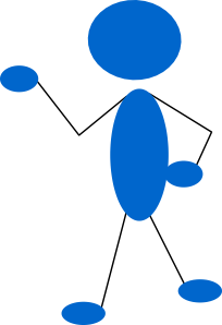 free vector Pointing Blue Stick Man clip art