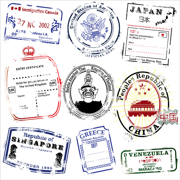 free vector Postmarks vector in several countries
