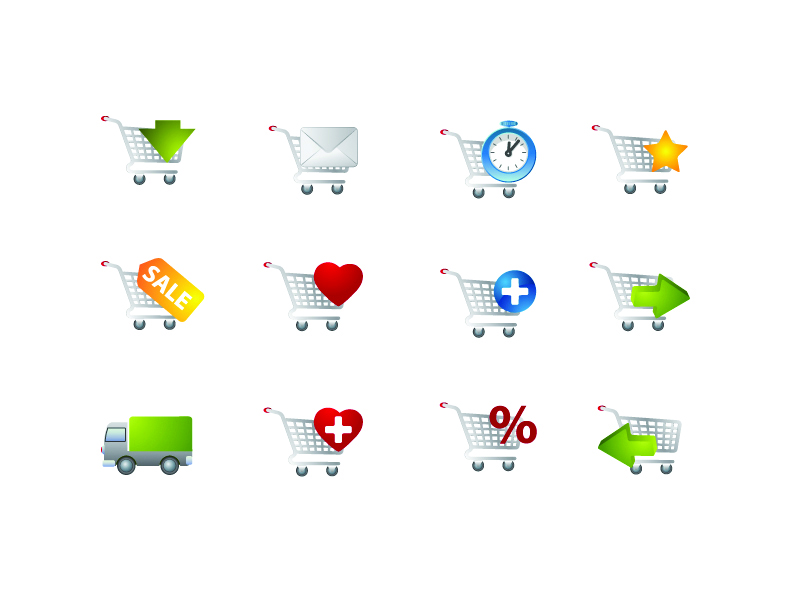 free vector Practical shopping cart icon vector