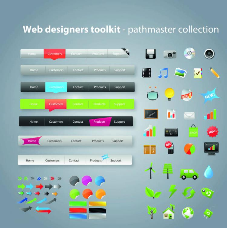 free vector Practical web design kit 07 vector