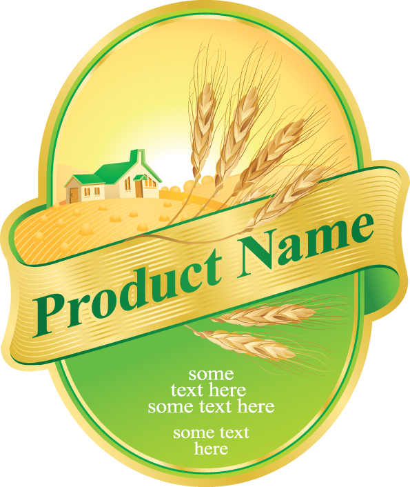 free vector Product label design 05 vector
