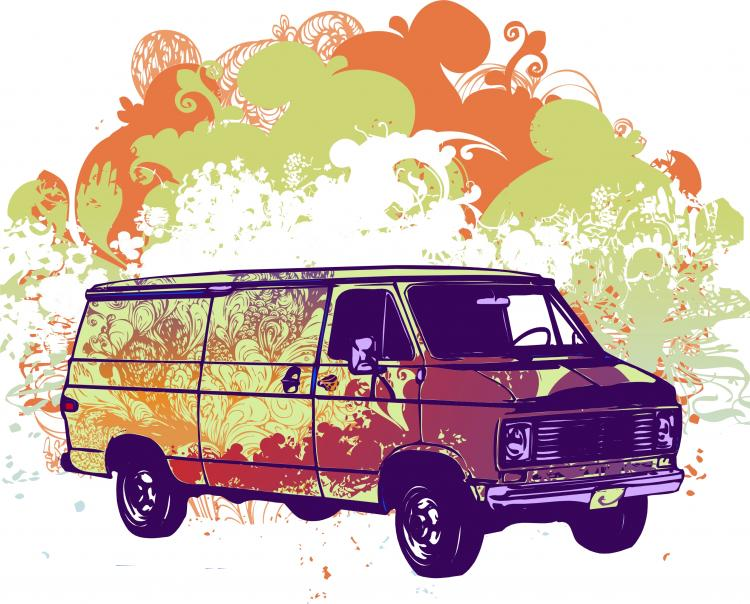 free vector Psychadelic van vector illustration