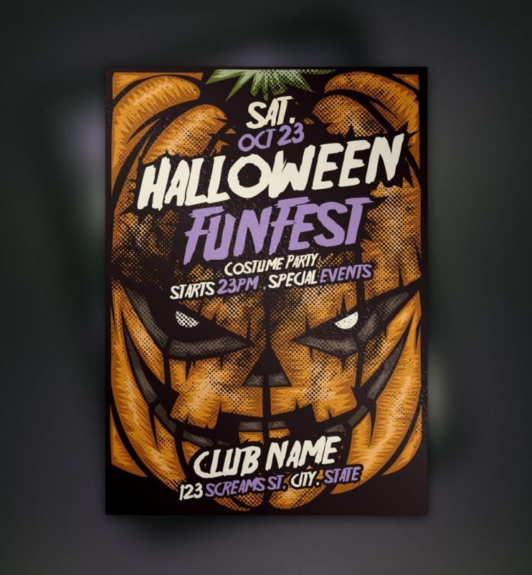 free vector pumpkin halloween flyer template