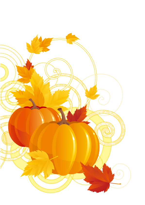 free vector Pumpkin maple leaf vector