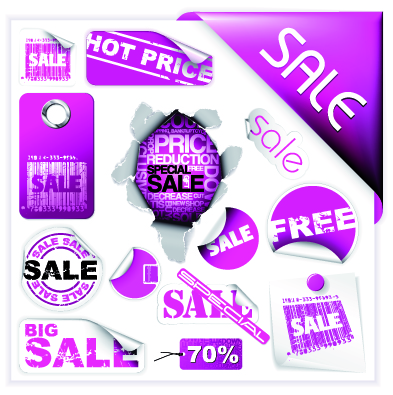free vector Purple discount sales vector