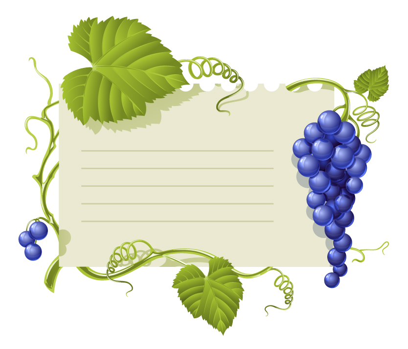 free vector Purple grape theme bulletin board vector