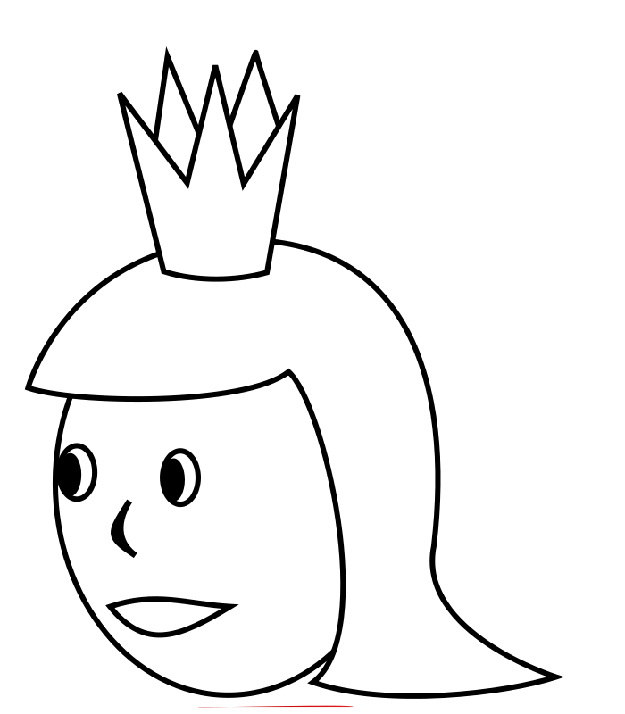 free vector Queen's Head Line Art
