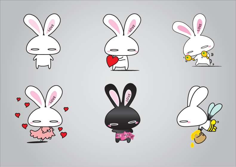 free vector Rabbits Vector Illustration