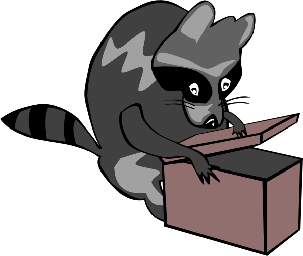 free vector Raccoon Opening Box clip art