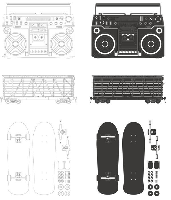 free vector Radio container skateboard vector