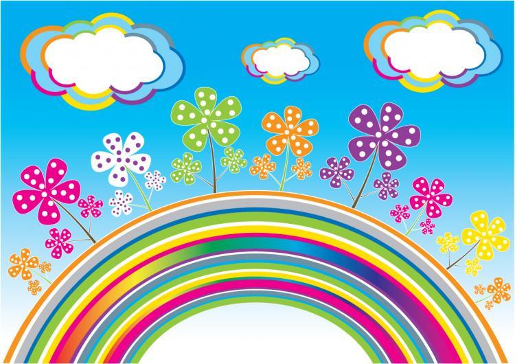 free vector Rainbow Clouds Vector flowers