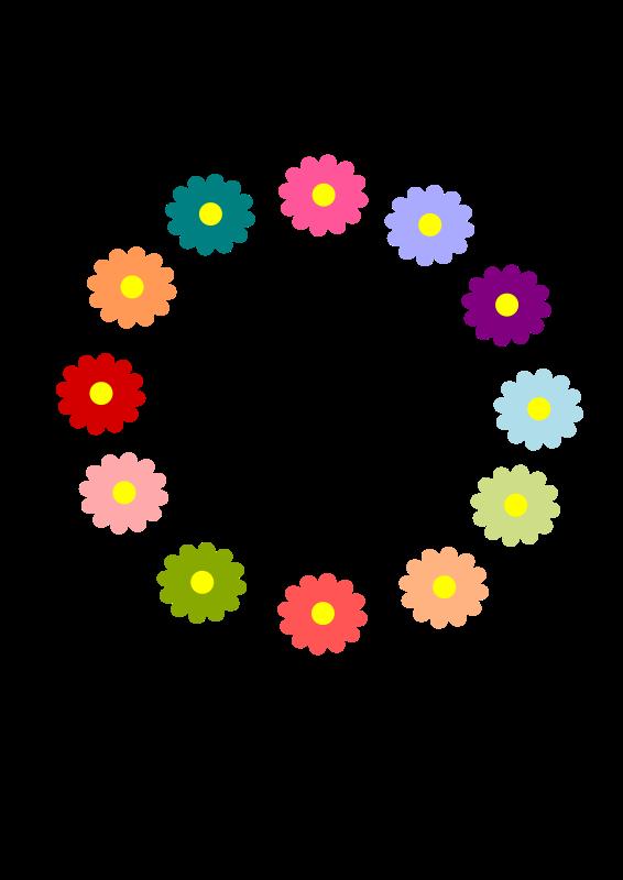 free vector Rainbow Flower Wreath