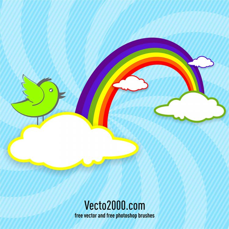 free vector Rainbow with clouds and bird for card design