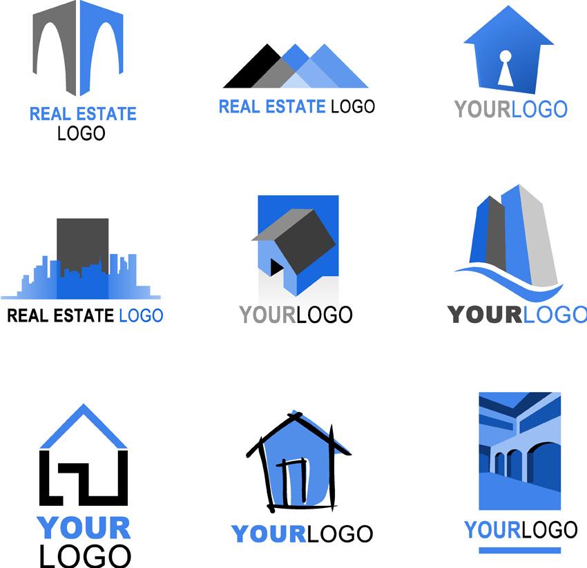 Real estate logo template vector Free Vector / 4Vector