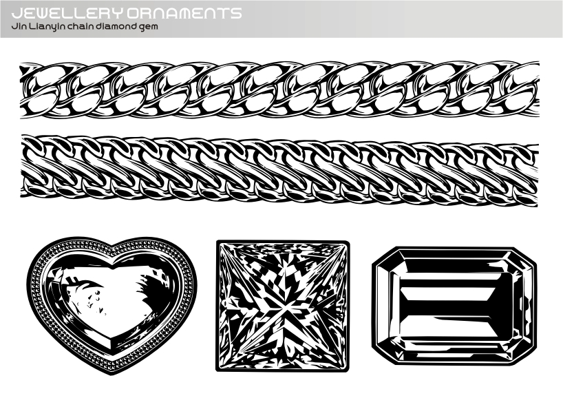 free vector Realistic Gold And Silver Chain - Diamond Gem Vector Realistic Vector
