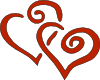 free vector Red Curly Hearts clip art