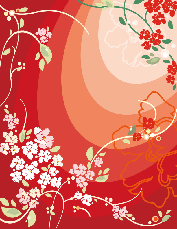 free vector Red flowers