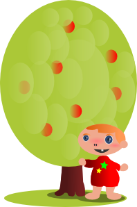 free vector Red Fruit Tree With A Baby clip art