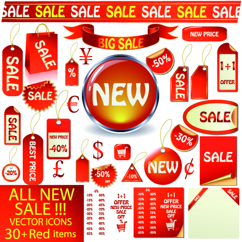 free vector Red icon vector sales