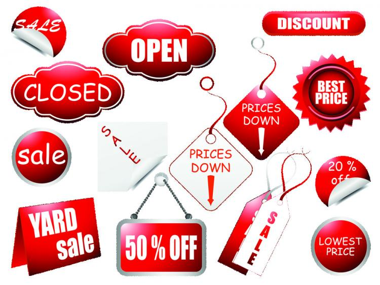 free vector Red label vector