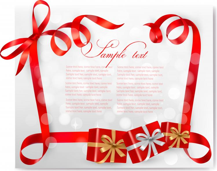 free vector Red ribbon card 03 vector