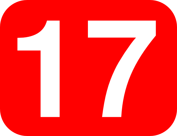 free vector Red Rounded Rectangle With Number 17 clip art