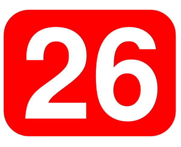 free vector Red Rounded Rectangle With Number 26 clip art