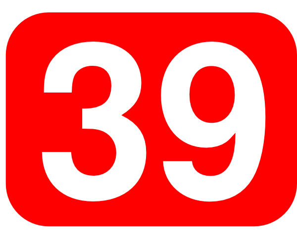 free vector Red Rounded Rectangle With Number 39 clip art