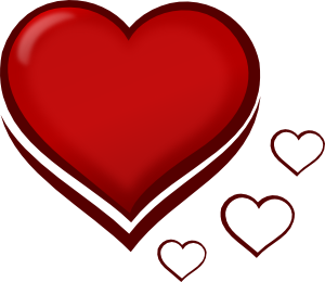 free vector Red Stylised Heart With Smaller Hearts clip art