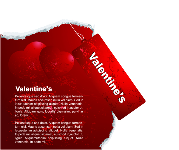 free vector Red valentine day card tag vector