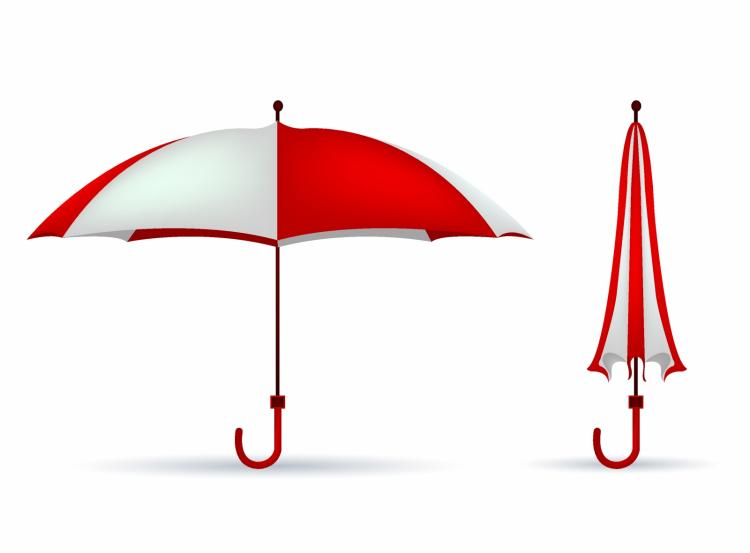 free vector Red-white colored umbrella