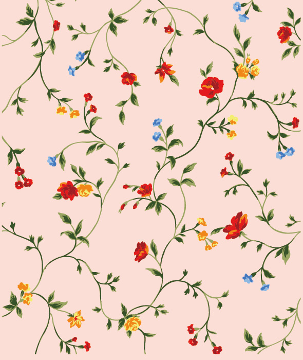 free vector Red yellow and blue small flowers vector background