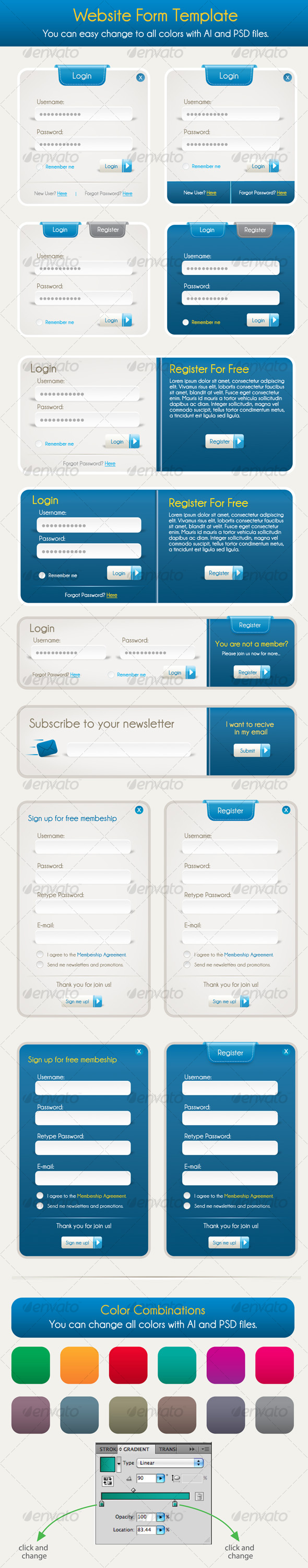 free vector Register and login form vector