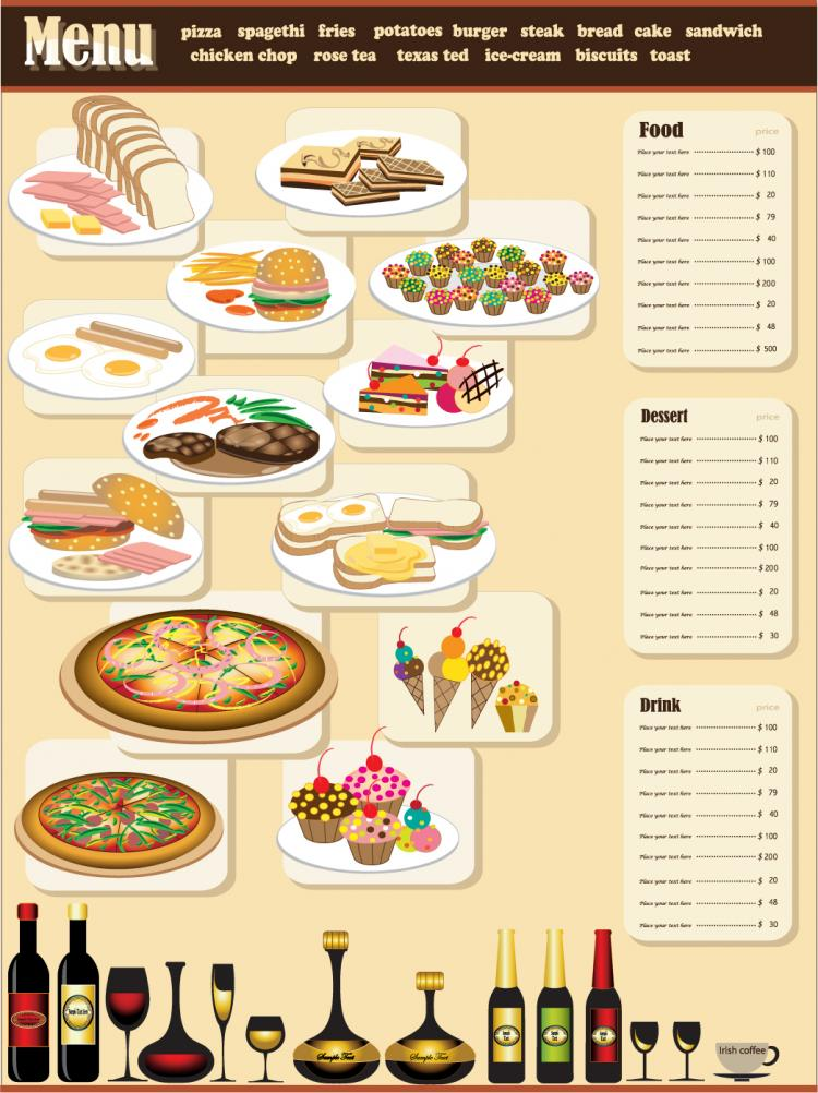Restaurant menu design vector free